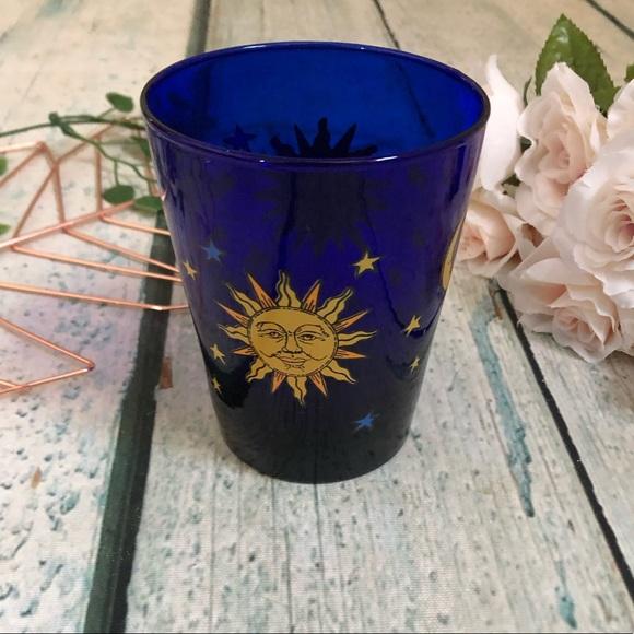 Vtg Libbey Colbalt blue celestial moon sun cup mug
